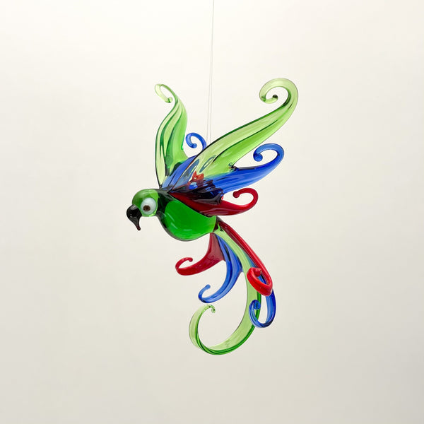 FANCY PARROT GLASS ORNAMENT