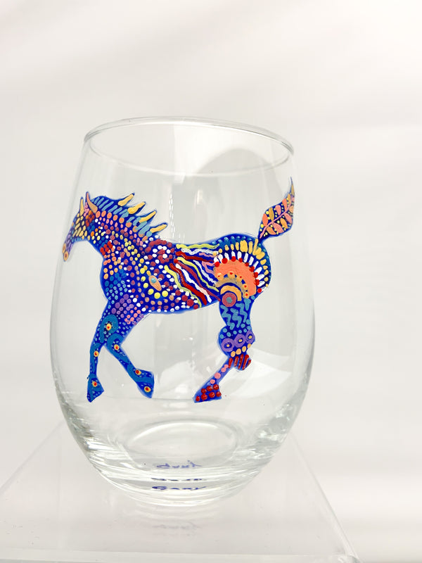 STEMLESS WINE RUNNING HORSE GLASS