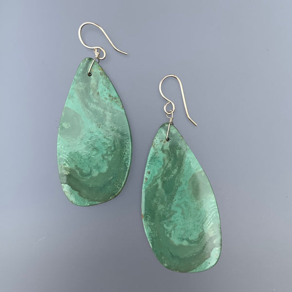 MARCELLA CASTILLO GREEN TURQUOISE SLAB EARRINGS