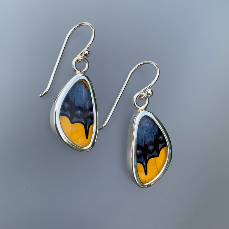 EXTRA-SMALL BUTTERFLY EARRINGS- BLUE/YELLOW
