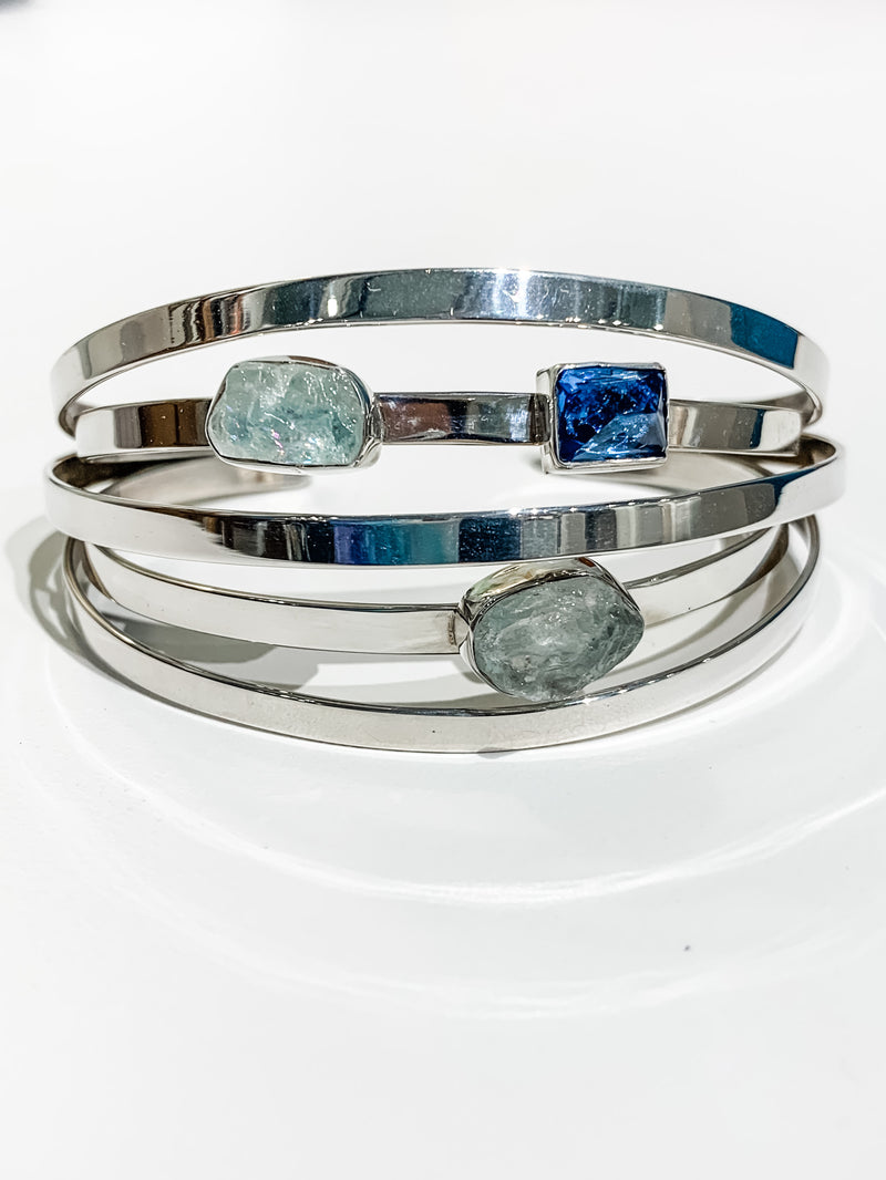 AQUAMARINE AND LONDON BLUE TOPAZ CUFF