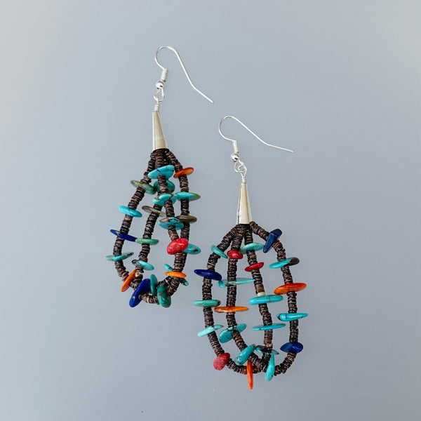 TWO WHITE HATS DEBBIE MALONEY TURQUOISE RED CORAL LAPIS BEAD BEADS BEADED EARRINGS ARTIQUE GALLERY