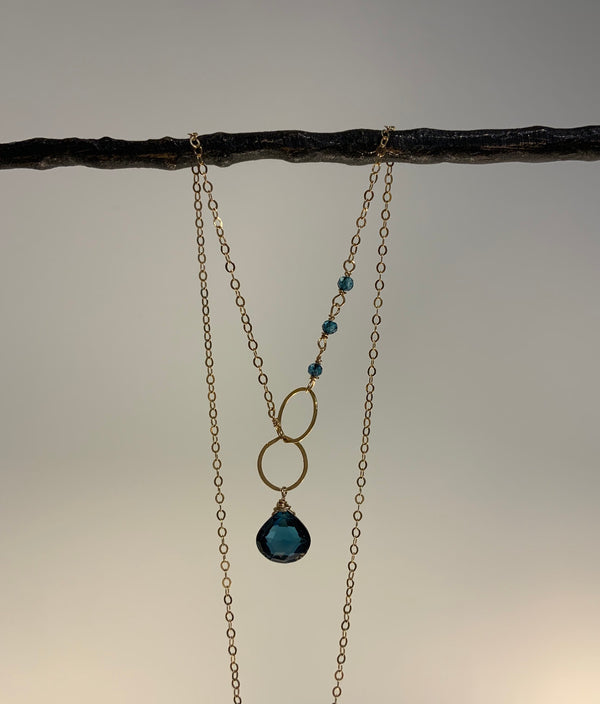 LONDON BLUE TOPAZ GOLD NECKLACE