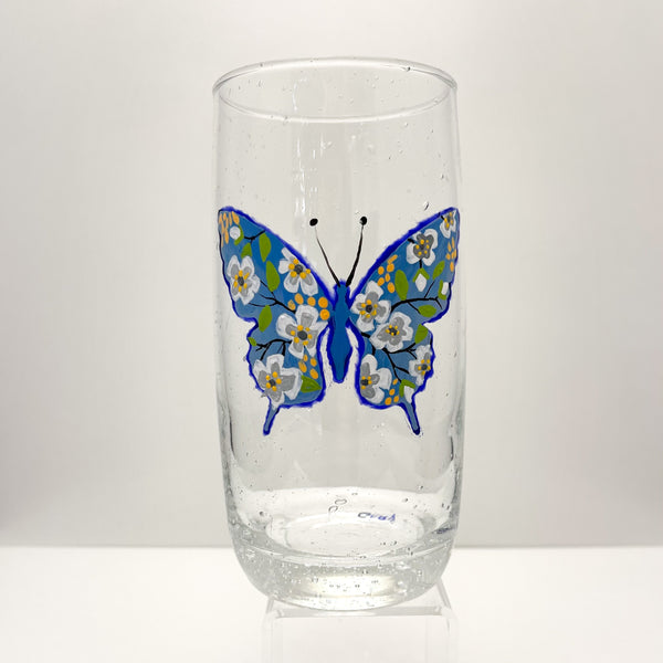 BUBBLE TUMBLER BUTTERFLY GLASS