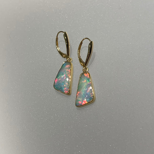 PINK OPAL TRAPEZOID EARRINGS