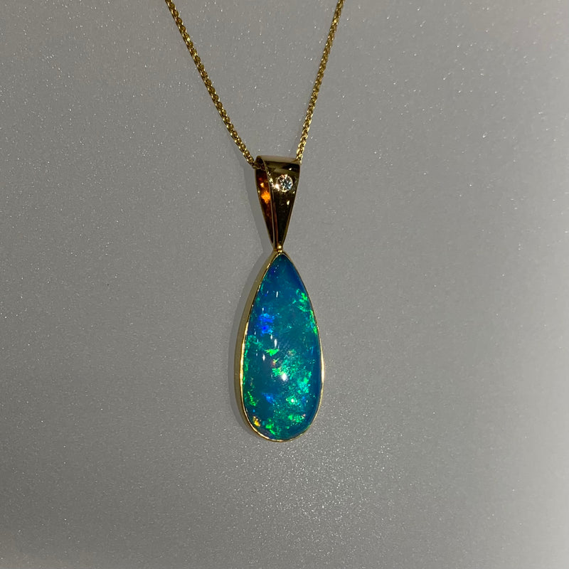 BLUE OPAL AND DIAMOND TEARDROP PENDANT