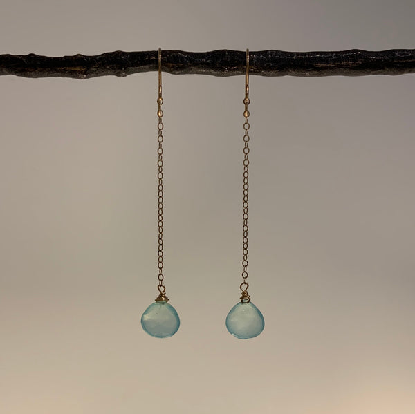 CHALCEDONY DROP EARRING