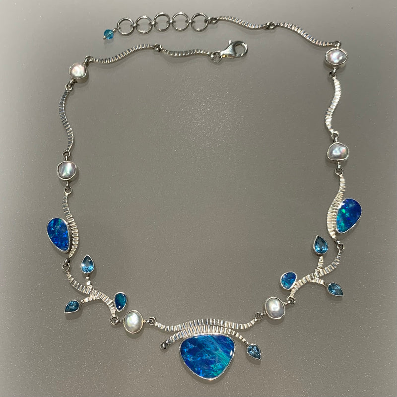 BLUE OPAL, BLUE TOPAZ AND PEARL NECKLACE
