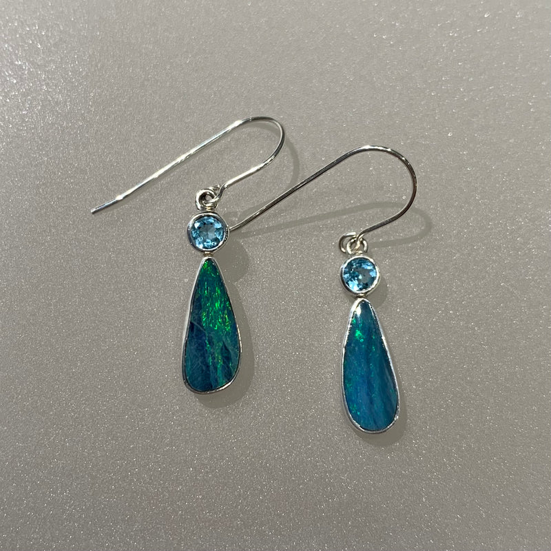 OPAL AND BLUE TOPAZ EARRING