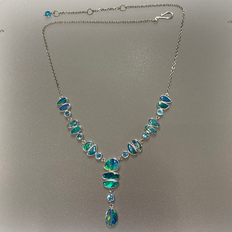 FREE FORM OPAL & BLUE TOPAZ ACCENT NECKLACE