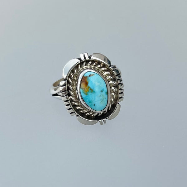 TWO WHITE HATS DEBBIE MALONEY STERLING SILVER RING TURQUOISE ARTIQUE GALLERY
