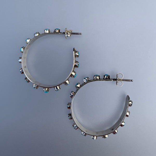 ZUNI STERLING SILVER HOOP TURQUOISE EARRINGS