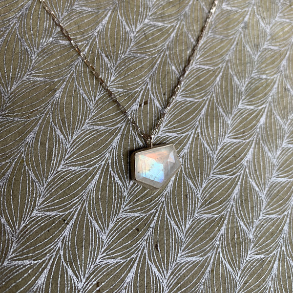 ONE OF A KIND GEOMETRIC MOONSTONE NECKLACE
