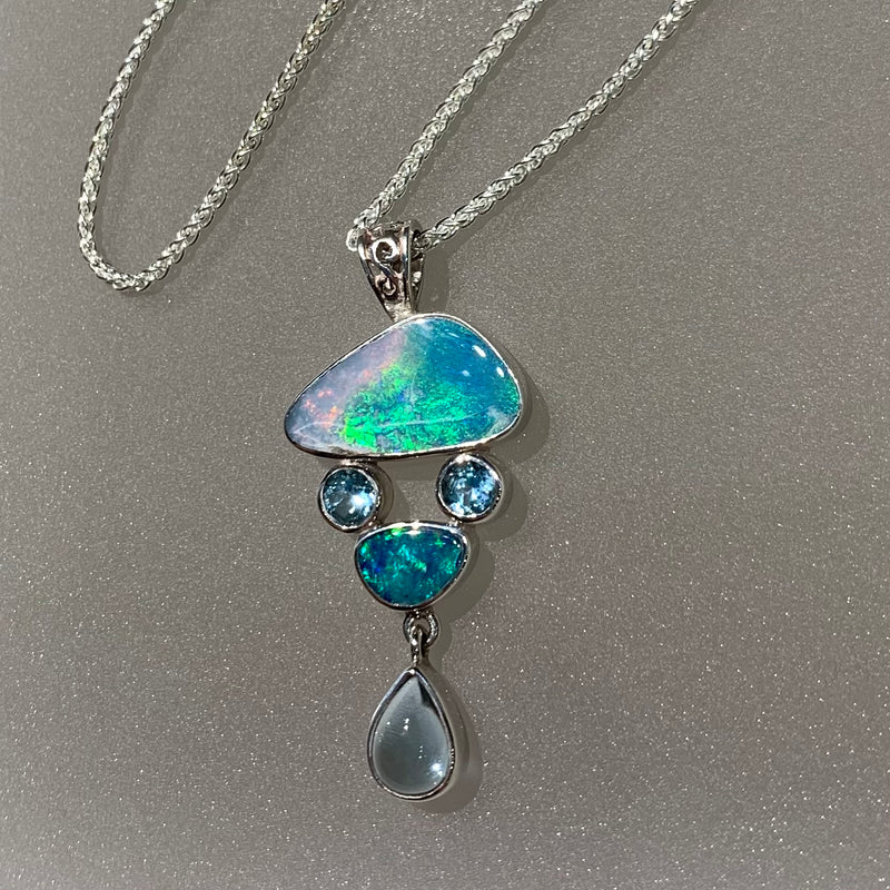 OPAL AND BLUE TOPAZ PENDANT