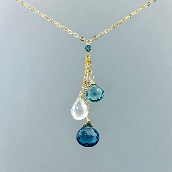 JUDY BRANDON JEWELRY GHOLD FILLED BLUE TOPAZ WHITE TOPAZ INDICOLITE BRIOLETTE NECKLACE ARTIQUE GALLERY