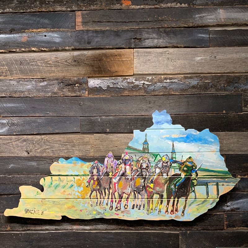 "KENTUCKY SHAPE WOOD CHURCHILL SPRING PAINTING 71"" X 32"""