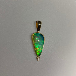 GREEN OPAL AND DIAMOND TRIANGLE PENDANT