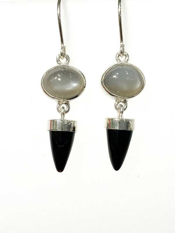 GREY MOON FACETED & BLACK ONYX DROP EARRING