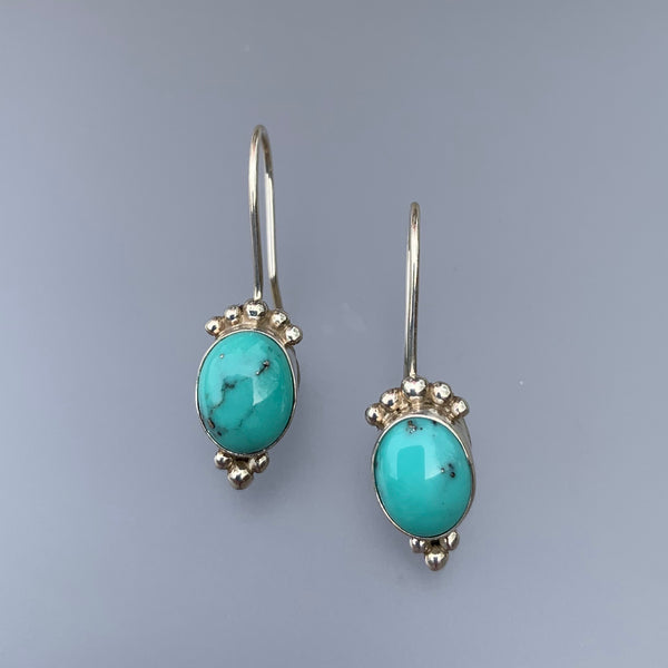 SMALL OVAL TURQUOISE EARRINGS WITH SILVER BALLS