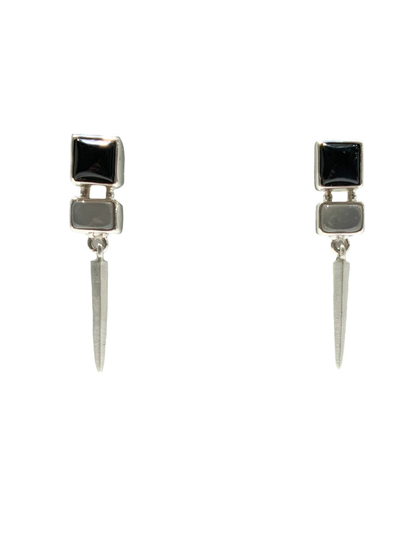 GREY MOON & ONYX FACETED SLIVER POINT EARRING