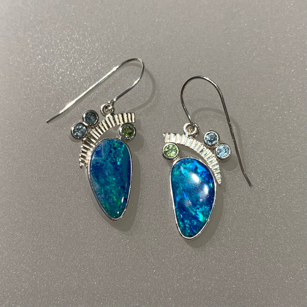 OPAL, BLUE TOPAZ AND PERIDOT EARRING
