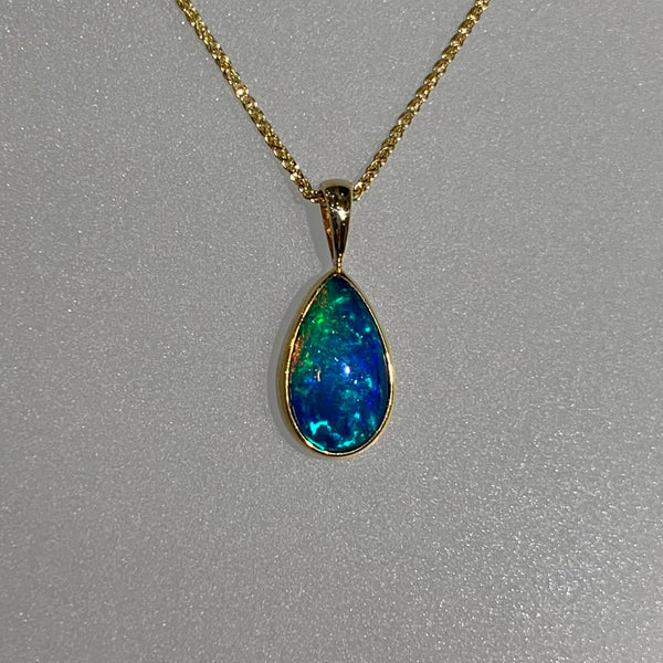 BLUE GREEN OPAL TEARDROP PENDANT