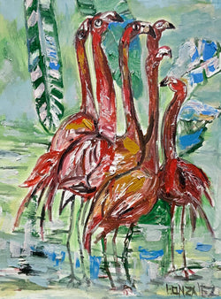 """A FLAMBOYANCE OF FLAMINGOS"" 36"" x 27"""