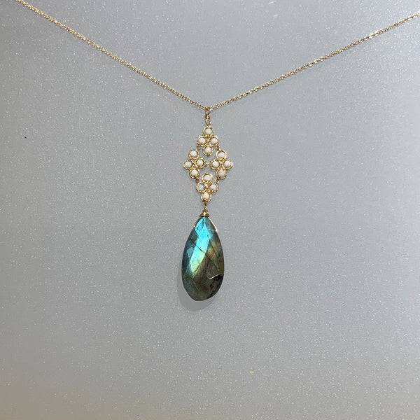 AUSTRALIAN OPAL AND LABRADORITE NECKLACE