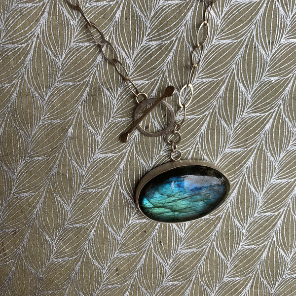 ONE OF A KIND LABRADORITE TOGGLE NECKLACE
