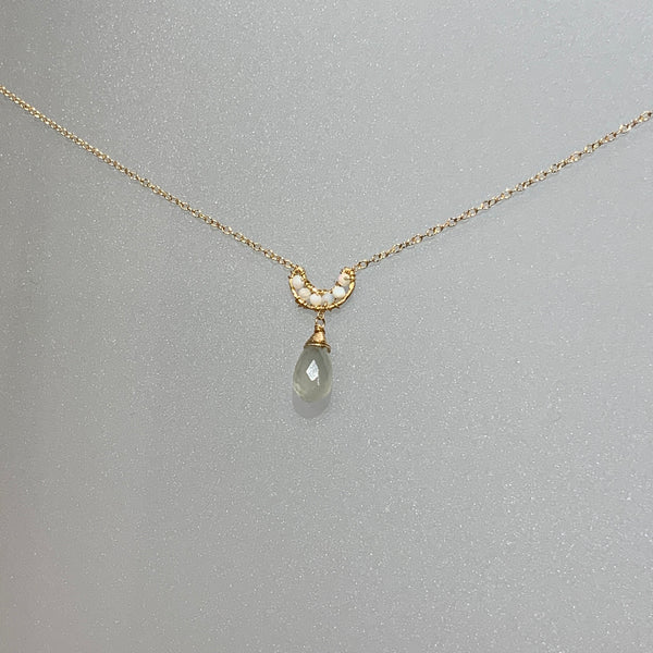 AUSTRALIAN OPAL AND GREY MOONSTONE NECKLACE