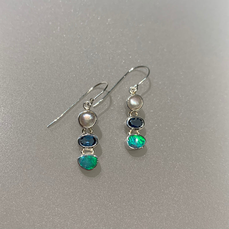 PEARL, BLUE TOPAZ AND OPAL EARRING