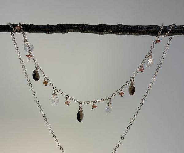 MOONSTONE, SMOKY QUARTZ, AND SAPPHIRE RONDELLES SILVER NECKLACE