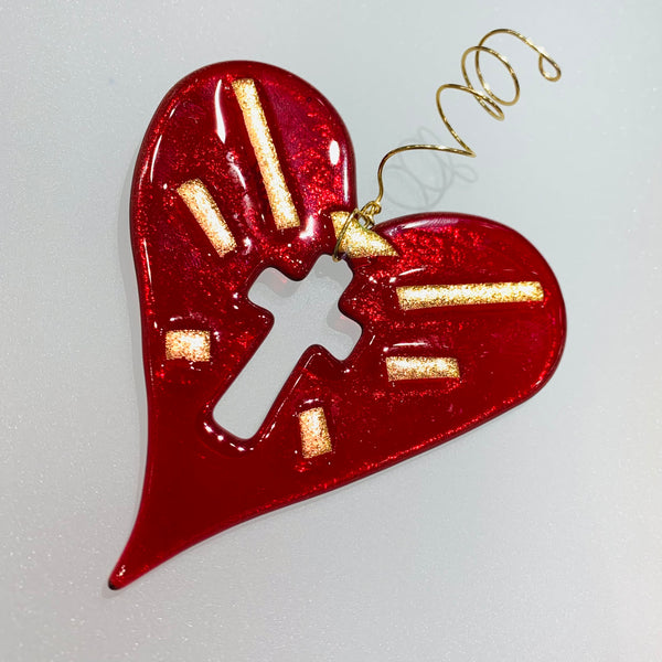 CROSS IN HEART ORNAMENT - SUNCATCHER