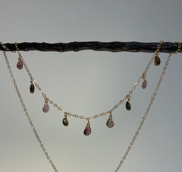 TOURMALINE BRIOLETTES GOLD FILLED NECKLACE