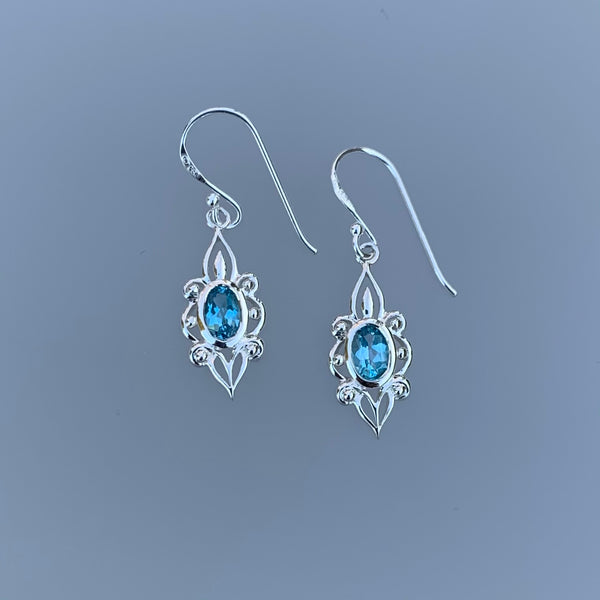 BLUE TOPAZ FLIGREE EARRINGS