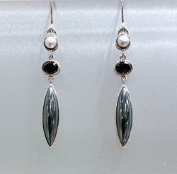 LONG DANGLE EARRINGS WITH HEMATITE, ONYX & GREY PEARL