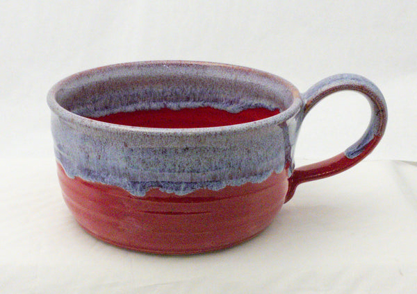 RED SPECKLE & PERIWINKLE DRIPS SOUP BOWL WITH HANDLE