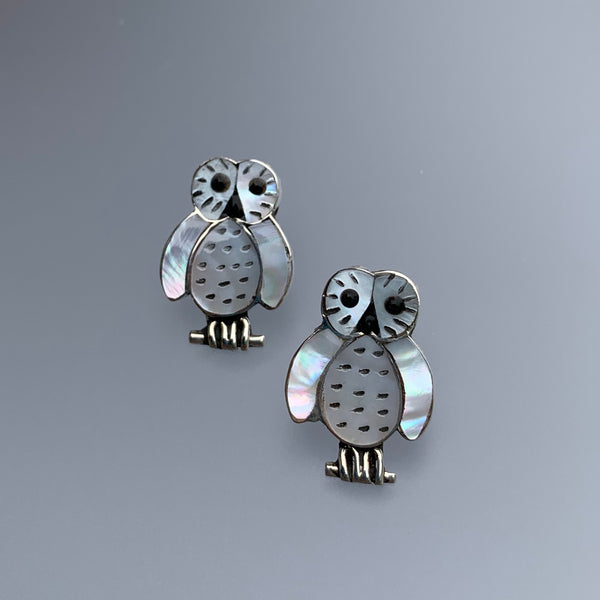 MOTHER OF PEARL OWL STUD EARRINGS
