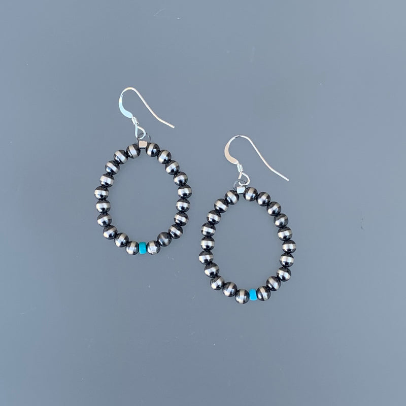 BEADED TEARDROP EARRINGS WITH TURQUOISE