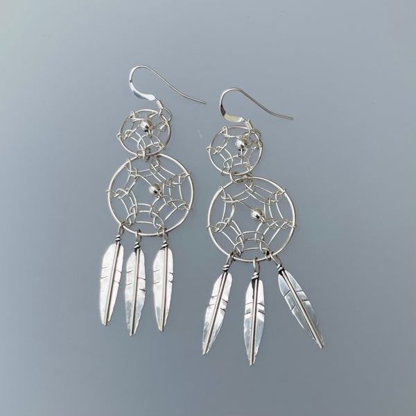 TWO WHITE HATS DEBBIE MALONEY STAMPED STERLING DREAM CATCHER EARRINGS ARTIQUE GALLERY
