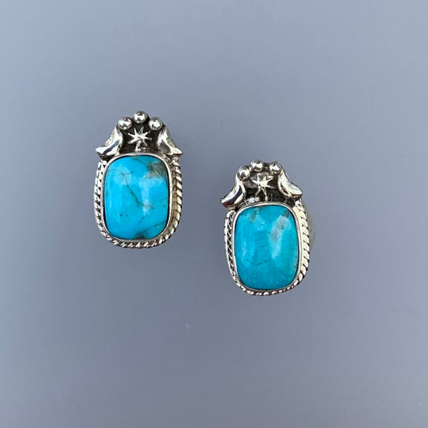 RECTANGLE TURQUOISE STUDS