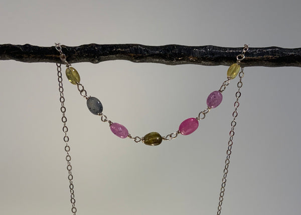 7 OVAL MULTI SAPPHIRE SILVER NECKLACE