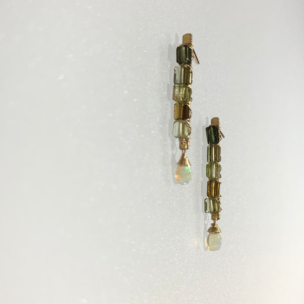 GREEN TOURMALINE AND ETHIOPIAN OPAL EARRINGS