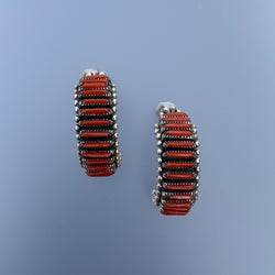 CORAL BAR NEEDLE POINT EARRING