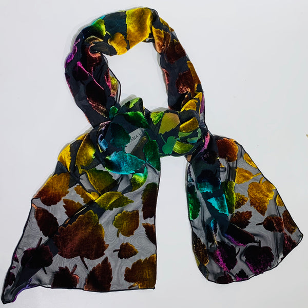 BURNOUT VELVET SCARF IN RAINBOW LEAVES