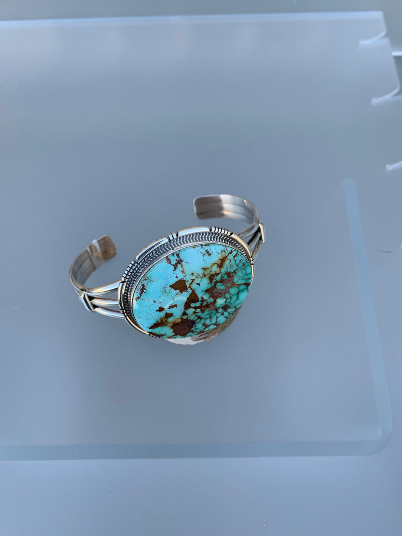 LARGE TURQUOISE STONE STERLING SILVER CUFF