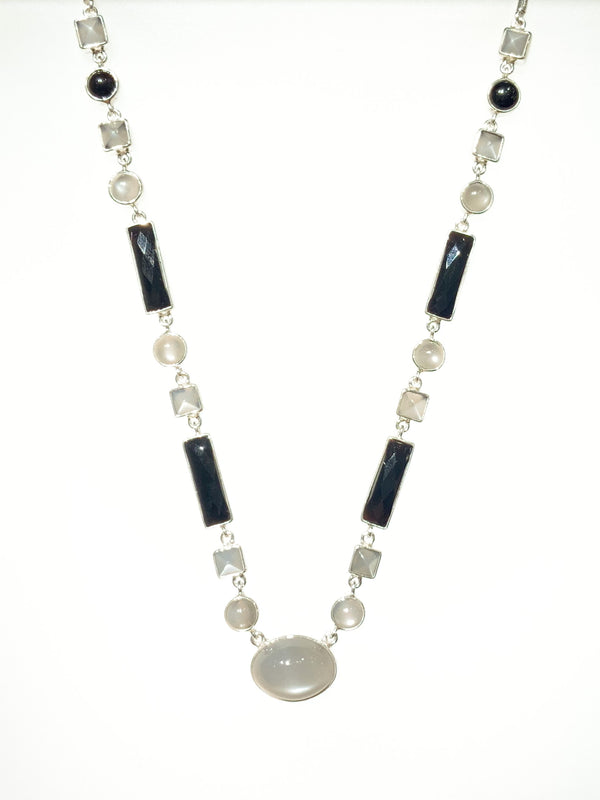 GREY MOON FACETED ONYX NECKLACE