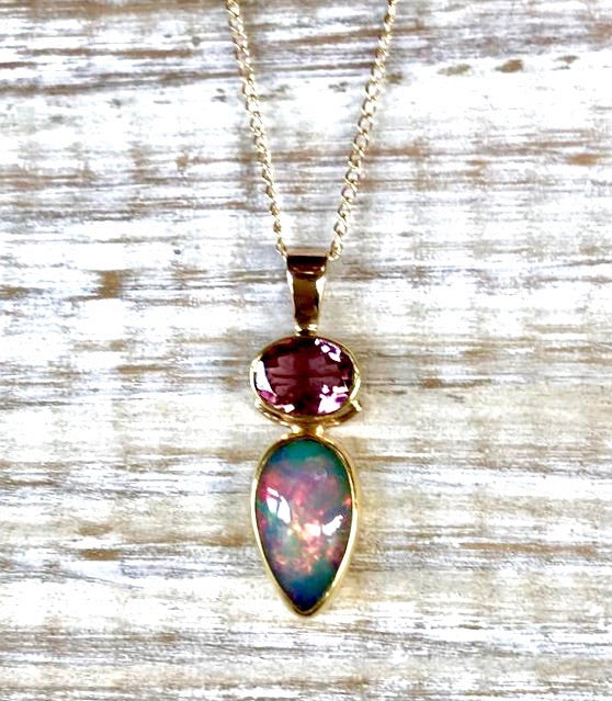 ETHIOPIAN OPAL TEARDROP AND PINK TOURMALINE OVAL 14K PENDANT