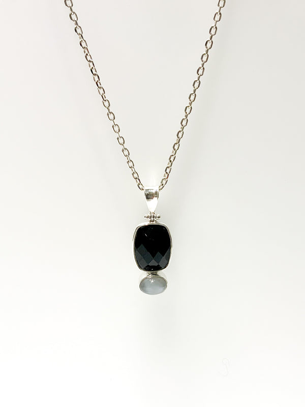 LARGE BLACK ONYX & FACETED GREY MOON PENDANT