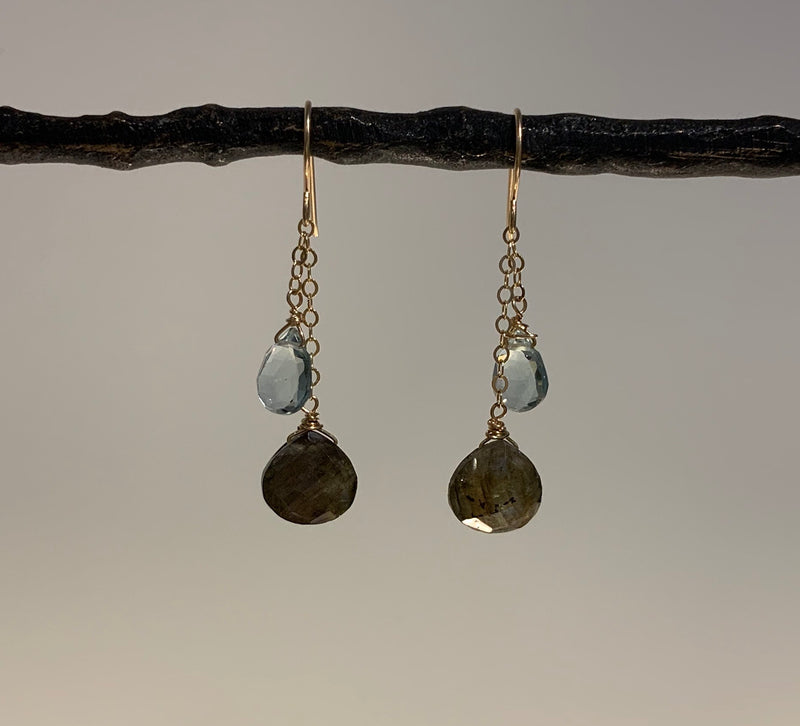 BLUE TOPAZ AND LABRADORITE BRIOLETTE DANGLE